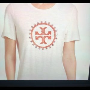 Tory Burch ivory embellished logo T-shirt XL